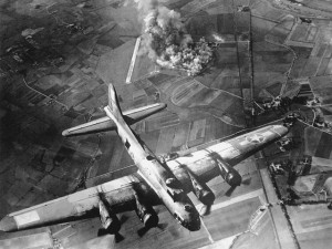 A B-17 of the 8th Air Force during a mission over Germany in 1944.
