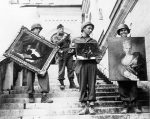 Second Lt. James J. Rorimer, second from left, supervising the recovery of paintings from Neuschwanstein Castle.  NARA Photo