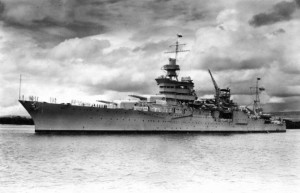 The USS Indianapolis (CA-35) on station at Pearl Harbor, Hawaii, in 1937.