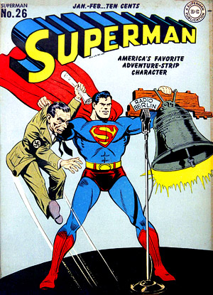 Nazi Propaganda Minister Josef Goebbels makes an appearance on the cover of a Superman comic book.