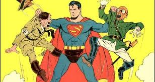 Superman with Hitler and Tojo. Hopefully he's about to clunk their heads together like Moe.